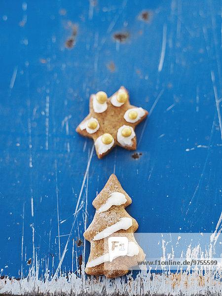 Weihnachtsgebäck Hintergrund blau