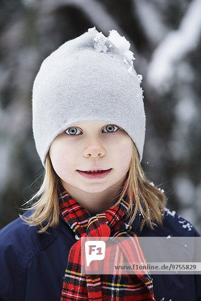 Smiling girl at winter