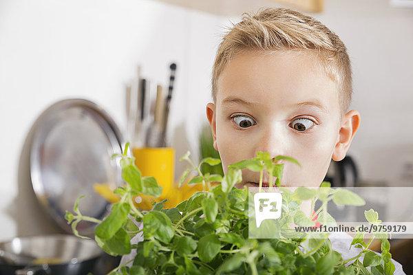 Ein schielender Junge  der nach Gewürzen riecht.