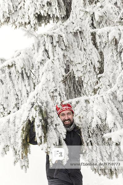 Germany  Baden-Wuerttemberg  Waldshut-Tiengen  smiling man in snow-capped fir tree
