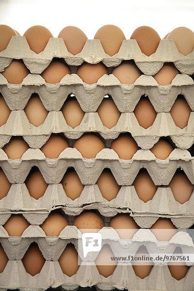 Stapel von Eiern in Kartons