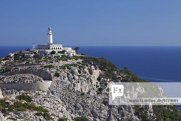 Europa Mütze Leuchtturm Balearen Balearische Inseln Spanien