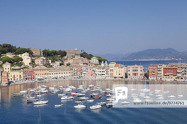 Europa Ehrfurcht Hotel Kirche Altstadt Bucht Italien Ligurien Provinz Genua