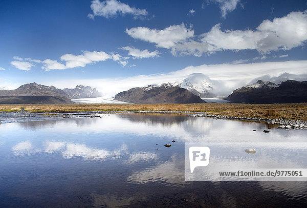nahe Nationalpark Berg Ecke Ecken Mütze Spiegelung See Eis Gletscher Vatnajökull nähern Island Skaftafell Nationalpark