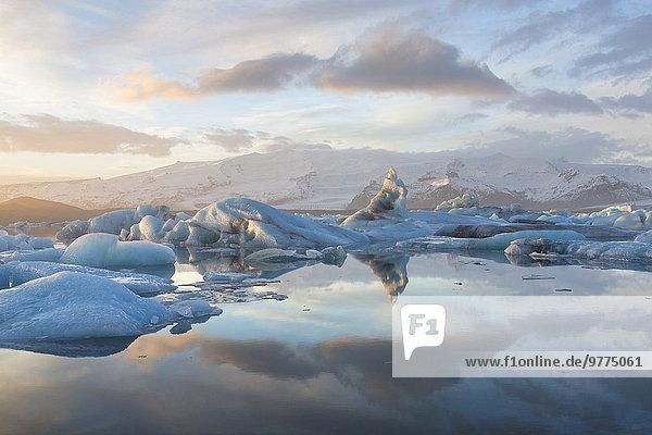 Nationalpark Winter Ecke Ecken Sonnenuntergang über Vatnajökull Eis Island Jökulsárlón Lagune