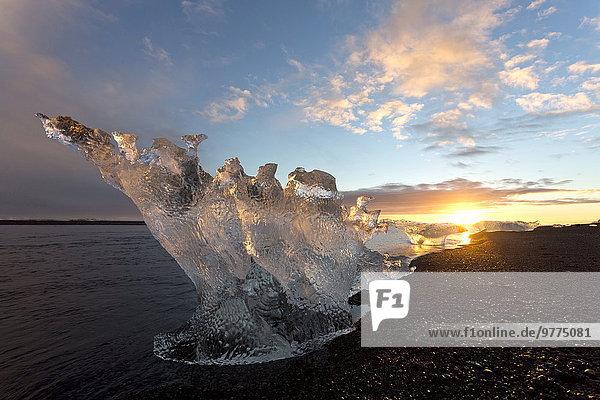 Nationalpark Ecke Ecken Strand Sonnenuntergang Eisberg Vatnajökull Island Jökulsá í Lóni