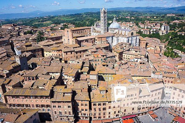 Skyline Skylines Europa Großstadt Ansicht Platz UNESCO-Welterbe Italien Siena Toskana