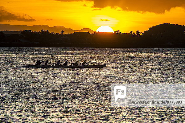 Abend Pazifischer Ozean Pazifik Stiller Ozean Großer Ozean Rudern Samoainseln Bucht