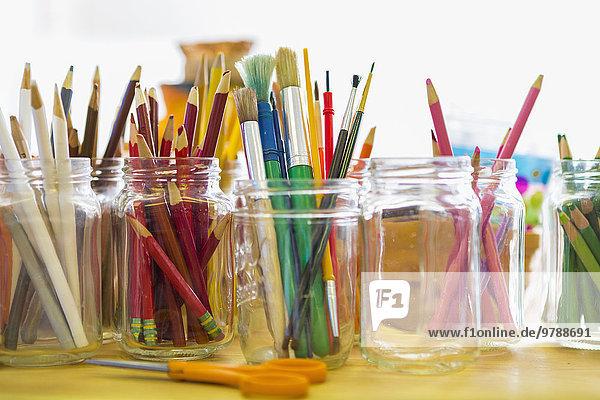Farbaufnahme Farbe Bleistift Close-up Glas Pinsel Farbaufnahme,Farbe,Bleistift,Close-up,Glas,Pinsel