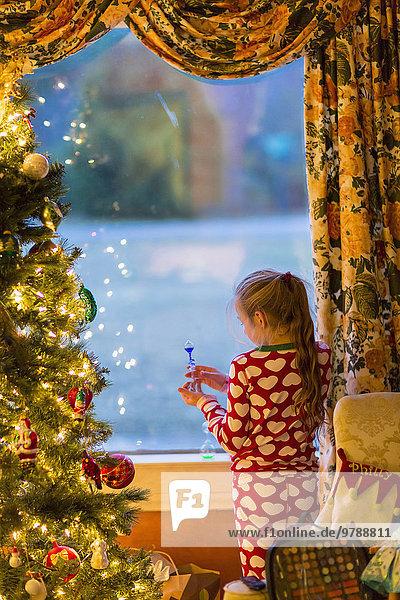 Geschenk nahe aufmachen Europäer Weihnachtsbaum Tannenbaum Mädchen