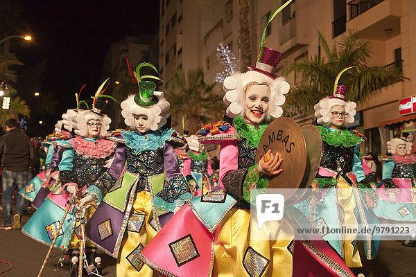 Children in imaginative costumes at the carnival  Santa Cruz de Tenerife  Tenerife  Canary Islands  Spain  Europe