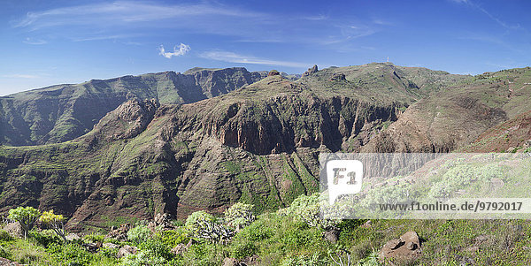 Barranco de Vera gorge  Roque del Sombrero  near San Sebastian  La Gomera  Canary Islands  Spain  Europe