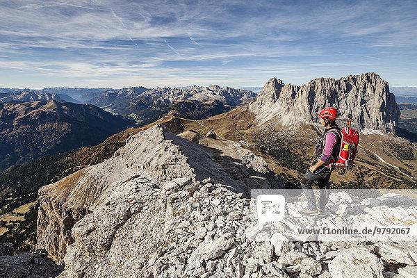 Mountaineer on the Piz Selva above the Pößnecker climbing range  Sellajoch  Langkofel and Plattkofel behind  Dolomites  Val Gardena  South Tyrol  Trentino  Italy  Europe