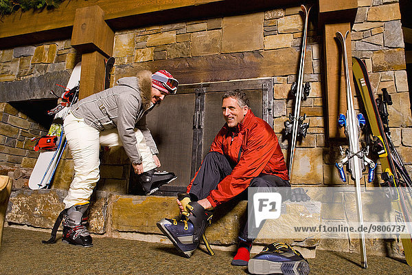 Skifahrer Stiefel Ski