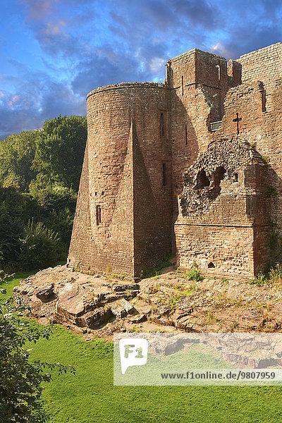 Goodrich Castle  mittelalterliche Burgruine aus normannischer Zeit  12. Jahrhundert  Befestigungsanlagen  Goodrich  Herefordshire  England  Großbritannien  Europa
