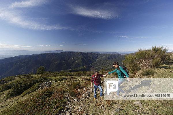 Trekking auf dem Berg  Montseny  Barcelona  Katalonien  Spanien