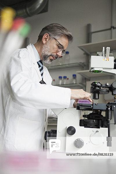 Wissenschaftlerin im Labor am Mikroskop
