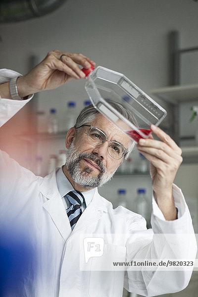 Wissenschaftler untersucht Flüssigkeit im Labor