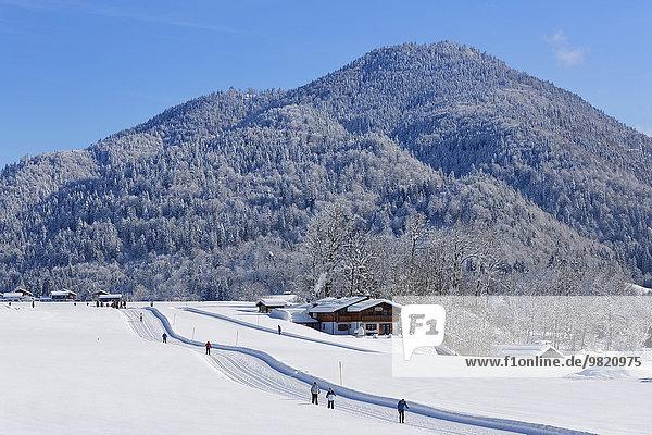 Deutschland  Bayern  Oberbayern  Chiemgau  Reit im Winkl  Langläufer im Winter