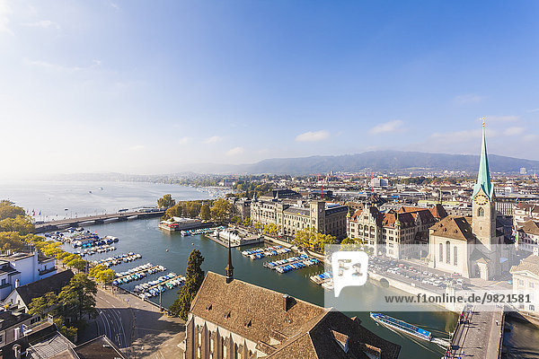 Switzerland  Zurich  Cityview  Limmat River  Town House Quai  Fraumuenster Church and Muenster Bridge