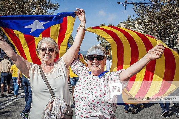 Politiker Barcelona Katalonien Demonstration Unabhängigkeit Passeig De Gracia Spanien