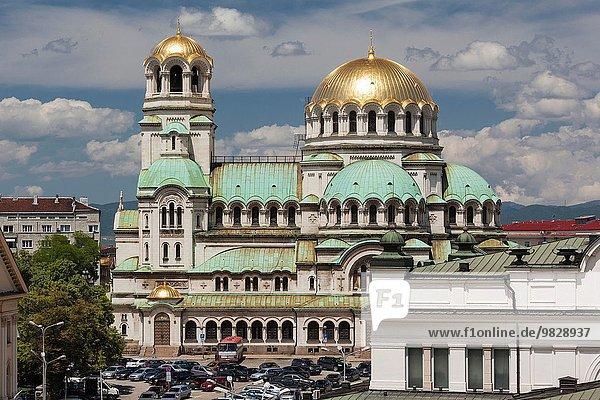 Sofia Hauptstadt Erhöhte Ansicht Aufsicht Tag Quadrat Quadrate quadratisch quadratisches quadratischer Bulgarien
