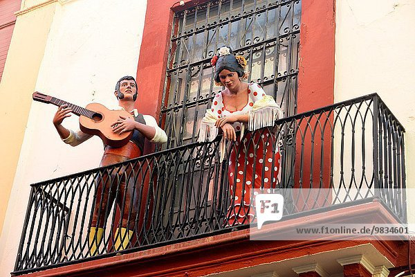 Statue of Flamenco dancer and musician in Seville  Spain.