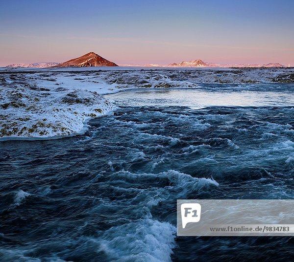 Winter Sonnenuntergang Landschaft Schnee Mývatn