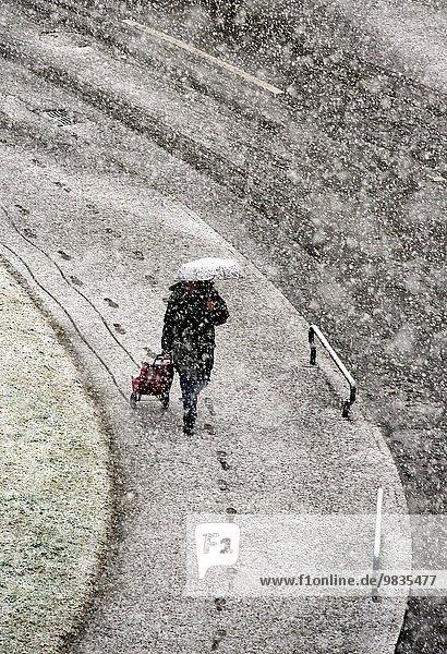 Frau Regenschirm Schirm Tasche Schneeflocke kaufen Einsamkeit Genf schwer Schweiz