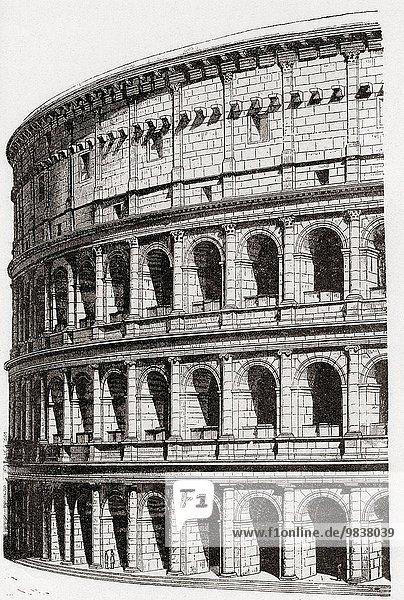 Rom Hauptstadt Ruine Zeichnung Stadion Coliseum Kolosseum Italien