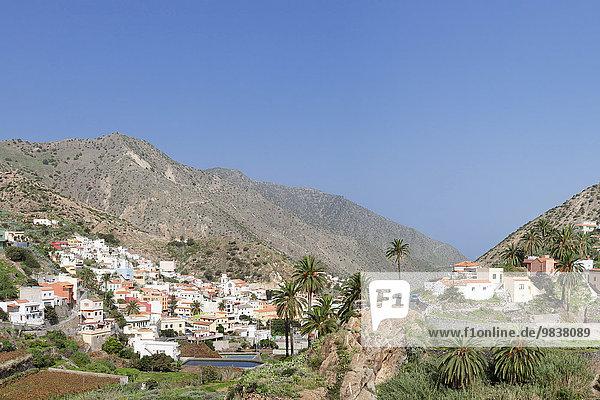 Ortsansicht  Vallehermoso  Roque Cano  La Gomera  Kanarische Inseln  Spanien  Europa