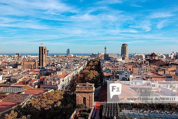 Barcelona overview. Barcelona  Spain.