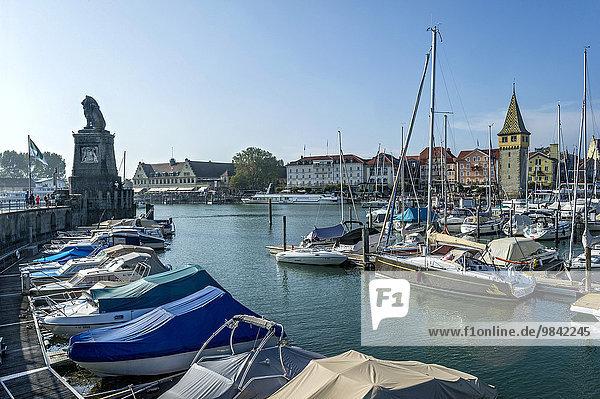 Motorboote und Segelboote  hinten Bayerischer Löwe und alter Leuchtturm  Mangturm oder Mangenturm  Hafen  Bodensee  Lindau  Schwaben  Bayern  Deutschland  Europa