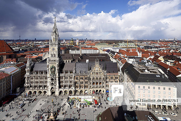 New Town Hall  Marienplatz square  Munich  Upper Bavaria  Bavaria  Germany  Europe