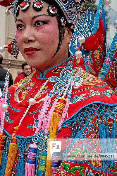Traditional Chinese women  celebration of Chinese New Year  Year of the Goat  Barcelona  Catalonia  Spain