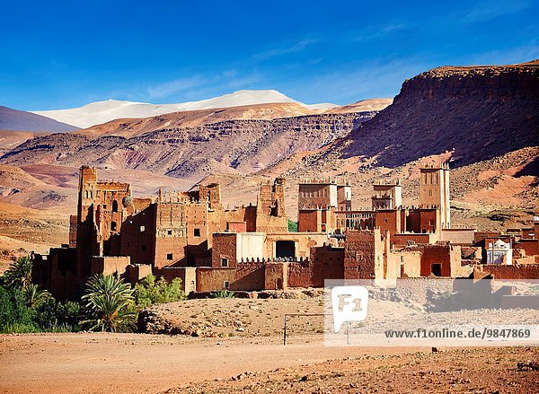 The Glaoui Kasbah´s of Tamedaght in the Ounilla valley set surrounded by the hammada (stoney) desert in the foothills of the Altas mountains  Tamedaght  Morroco.