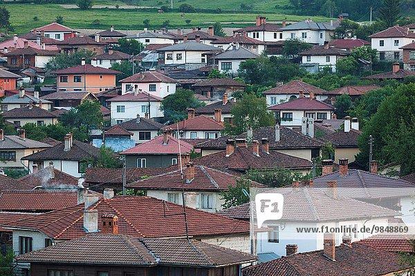 Bulgaria  Central Mountains  Koprivshtitsa  elevated village view.