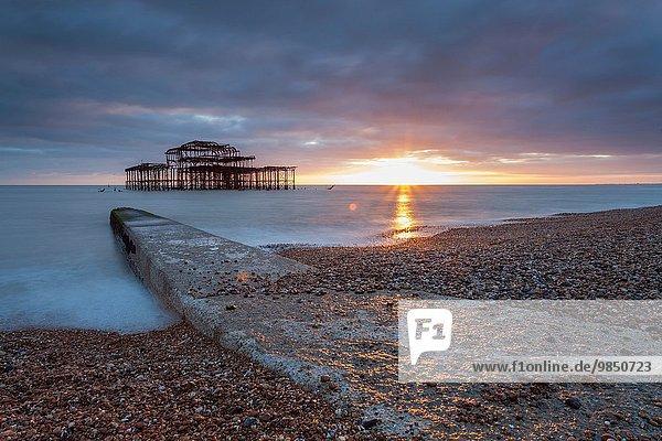Sonnenuntergang Großbritannien Ruine Brighton