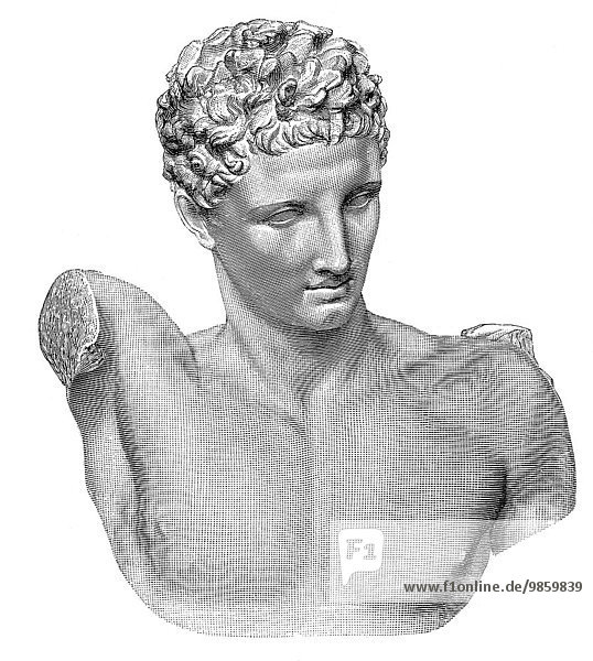 Marble statue of the Greek god Hermes of Olympia  historical illustration