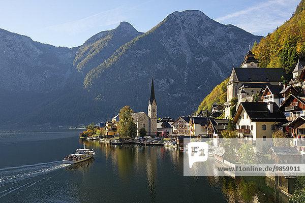 Ortsansicht Hallstatt  Hallstätter See  UNESCO-Welterbe Hallstatt-Dachstein Salzkammergut  Oberösterreich  Österreich  Europa