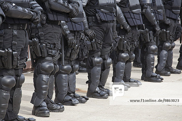 Police in riot gear protecting members of the neo-Nazi National Socialist Movement as they hold a rally on the steps of the government office building  Toledo  Ohio  United States  North America
