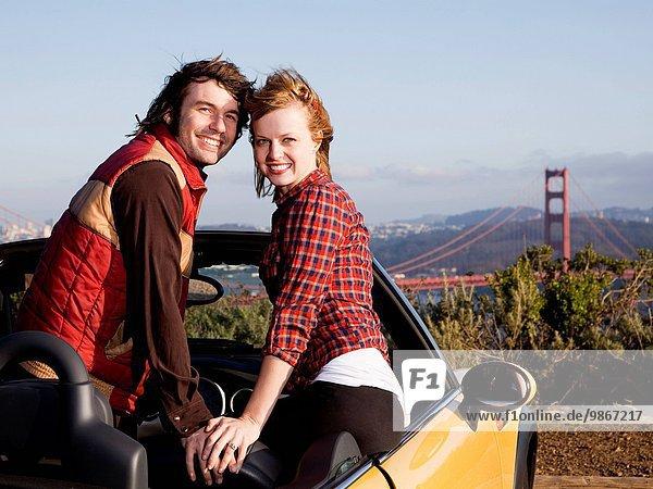 Vereinigte Staaten von Amerika USA Auto Cabrio Hintergrund jung Kalifornien Golden Gate Bridge San Francisco