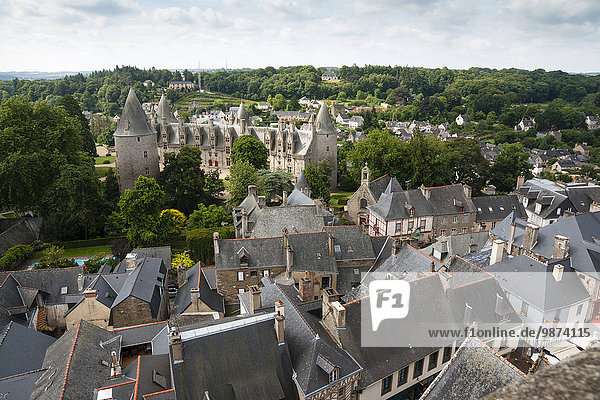 Josselin (Brittany  north-western France) : the town and the castle viewed from the steeple of the basilica