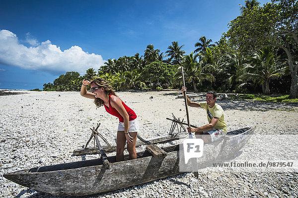Strand Tourist spielen Tanna Insel