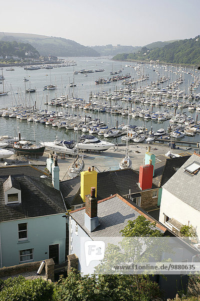 'Boats in the harbour of River Dart and colourful houses; South Hams  Devon  England'