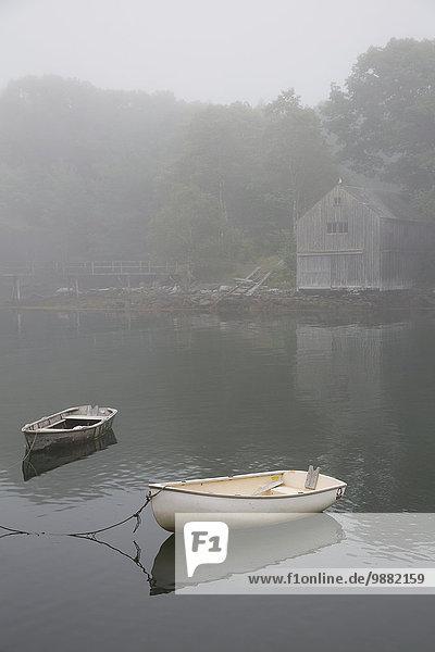 Amerika Nebel Verbindung Bootshaus Maine New Harbor