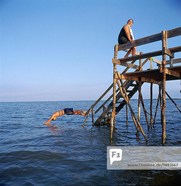 Diving Of Pier At Lake Winnipeg  Whytwold  Manitoba