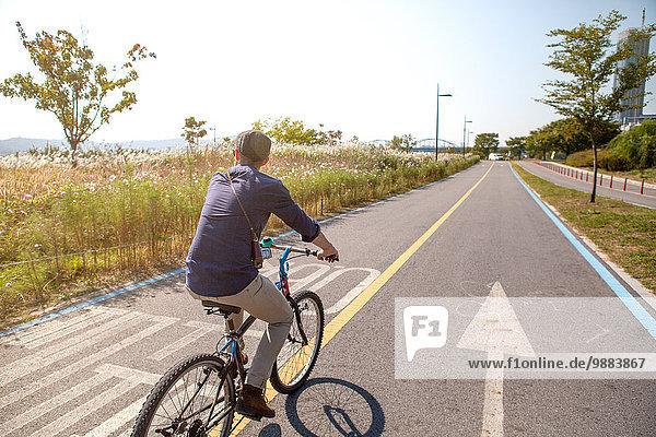 Radfahren auf der Straße  Seoul  Südkorea