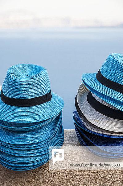 Haufen Wasser Wand Hut blau Ansicht Santorin Griechenland Oia Ia