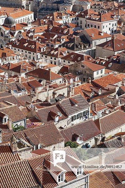 Blick auf die Dächer der Altstadt  Dubrovnik  Kroatien